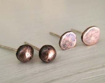 Minimalist Rustic Copper Earring Studs - 4.5-5mm Ball Stud or Flat Nugget Antiqued Sterling Silver Post Earring Pair - Custom Size Unisex Ea