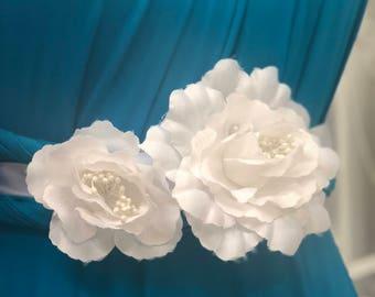 KARLA - White Flower Wedding Bridal Sash