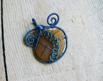 Wire wrapped pendant, blue copper wire, genuine sea glass, sea glass pendant, Birthday gift, genuine sea stone, beach stone pendant