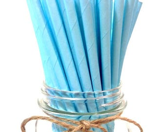 25 Solid Light Blue Paper Straws // baby bridal shower decorations // candy dessert buffet table / wedding / First birthday / new year party