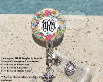 Retractable Badge Holder, Floral Personalized Badge Reel, Monogram Badge Reel, Nurse Badge Reel, Badge Holder, MB413