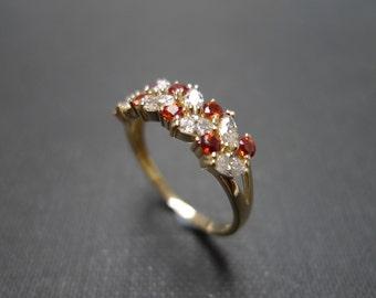 Marquise Diamond and Citrine Wedding Ring 14K Yellow Gold, Diamond Ring, Diamond Band, Diamond Engagement Ring, Marquise Ring, Citrine Ring