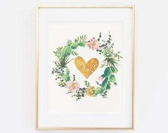 Printable Wall art, Floral Home Decor, Floral Heart, Cactus Wall Art, Digital File, Cactus wall art, watercolor, Gold Heart Wall Print