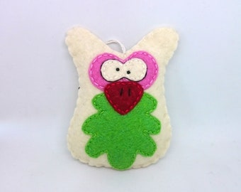 Owl ornament - felt home decor Baby shower nursery decoration eco friendly kidsroom accessory