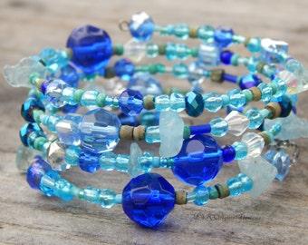 Memory wire bracelet, blue bracelet, boho bracelet, gift for friends, beaded wrap bracelet, boho wrap bracelet, wrap around bracelet, yoga