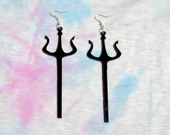 Black Satanic Pitchfork Acrylic Earrings with Silver Earring Hooks
