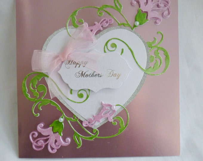 Mothers Day Card, Special Mother Card, Greeting Card, Happy Mothers Day Card,  Large Heart, Pink Flowers, Any Age,