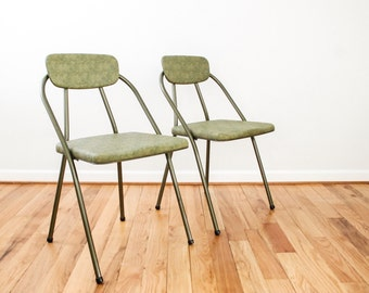 Folding Chairs, Mid Century Chairs, Retro Chairs, Matching Pair Of Green  Hamilton Cosco