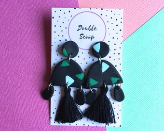 Statement earrings, polymer clay dangles with tassels