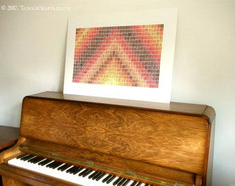 Colourful Chevron Wall Art - Large GB Stamp Collage (made to order)