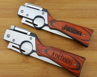 Personalized knife, Gun Knife with LED, pocket knife, engraved knife, folding knife, gift for him, groomsmen gifts, groomsmen knives, knife