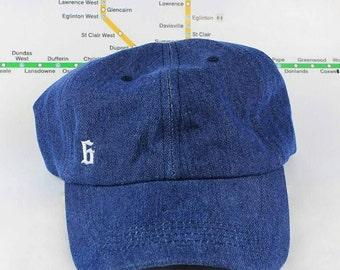"Dem Denim! Minimalist ""The 6"" Collection Denim Dad Cap! Strap Back Dad Hat Denim Dopeness! YYZ, GTA, OVO, The 6ix, Area Code 416 Drake Hats!"