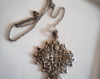 1940's  Antique Signed Peruzzi Boston Sterling Cross Necklace...Antique Peruzzi Cross..Signede Early Vintage Renaissance Necklace