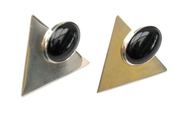 Sterling Onyx earrings  silver black triangle  modernistic - Southwestern - Pierced  earring