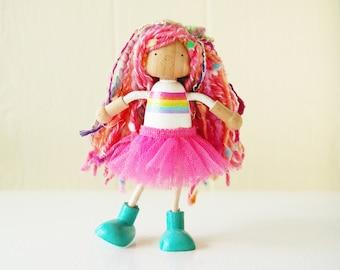 Over The Rainbow Doll - Bendy Doll - Dollhouse Doll - Last Day Of School - Summer Vacation - Rainbow Fairy Peg Doll