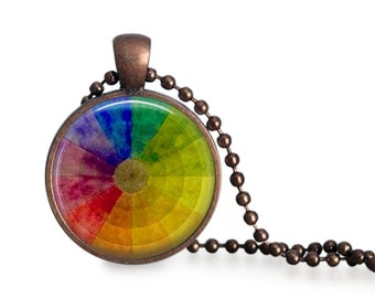 Vintage color wheel pendant necklace, artist gift for art teacher, color wheel necklace, art pendant, gift under 20.