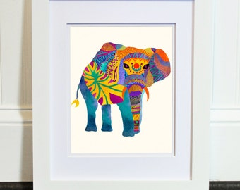 Poster Print - Whimsical Elephant in 8 x 10 or 11 x 14 - For Your Home Decor