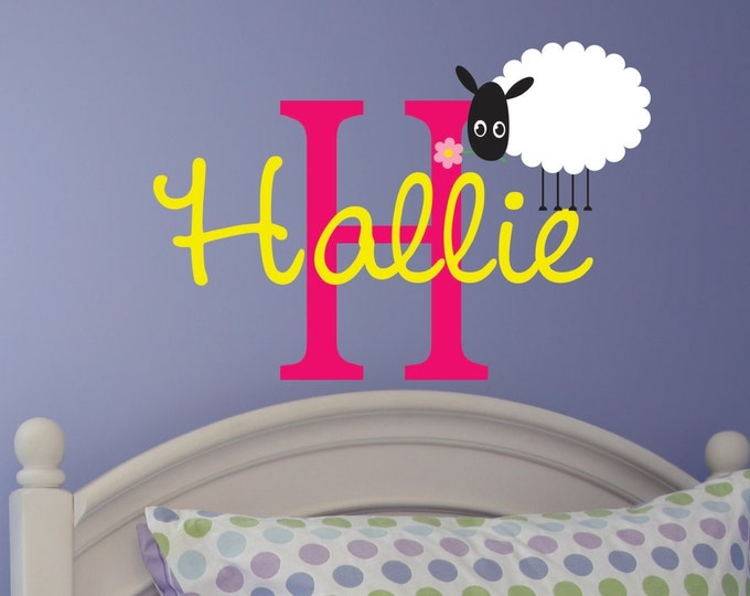 Sheep, Monogram Wall Decal Nursery, Nursery Name Sign, Name Wall Decals, Vinyl Lettering, Kids Room Decor, Bedroom Wall Art, Wall Stickers