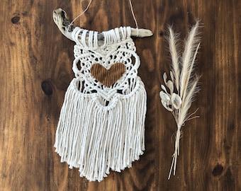 Mini Valentine Macrame Creation/rustic/boho/gypsy/hippie/love/gift/valentinesday/present/handmade/vday