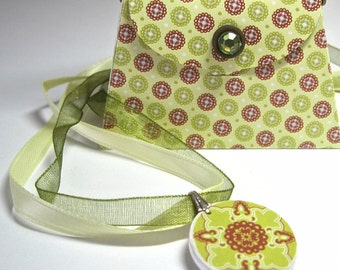 Lime Green and Brown Wooden Disc Necklace with Matching Purse Gift Bag