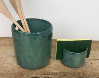 Blue hand made ceramic kitchen spoon holder and matching sponge holder. Kitchen set.