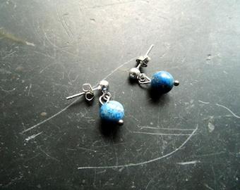 Earring, earrings, sterling silver, lapis, blue, jewelry