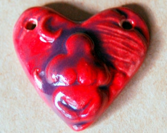 Earth Goddess Heart Ceramic Bead - Perfect for Blessingway in Rich Magenta - Stoneware bead