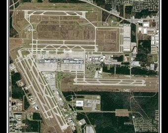 George Bush Intl Airport Houston Texas Satellite Poster Map