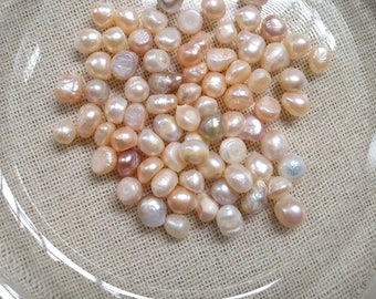 4-10mm Undrilled Pearl- Genuine Freshwater Pearl- No Hole- Loose Pearl Beads- Without Hole- Assorted Pearl, 50g