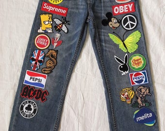 Patched Denim / Hand Reworked Vintage Jeans with Patches / Vintage Jeans with Patches / Patched Jeans UNIQLO KIDS 24 Waist