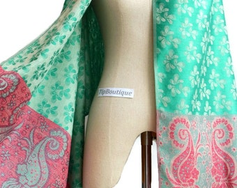 Paisley Flower Scarf Shawl Women Scarves Vegan Pashmina Style Fabric Summer Spring Scarf gift For Her Mothers Mom Emerald Green FWP4