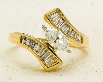 Elegant Unique 14K Yellow Gold 0.50ct Marquise Diamond & Side Accented Engagement Ring Size 6 - 3.7 grams FREE SHIPPING!