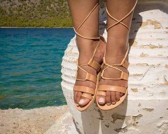 Greek sandals Woman sandals Leather sandals Gladiator sandals Strappy sandals Tie up sandals Lace up sandals Handmade sandals Flat sandals