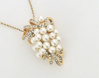 Gold pendant necklace. Vintage brooch on vintage chain.  Beautiful quality, cluster of pearls and ribbons of rhinestones. Gift for mom.
