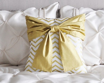 Metallic Gold Pillow - Gold and White Bow Pillow Covers - Decorative Pillows - Chevron Pillows - Metallic Gold Pillows - Holiday Decor Gift