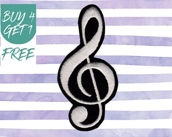 Concert Patches Music Patches Iron On Patch Embroidered Patch Treble Clef Musical Note