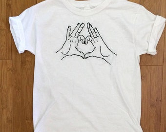 Heart Hands hand-embroidered shirt