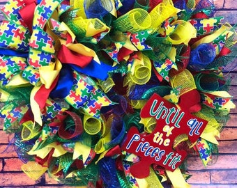 Autism Awareness Wreath - Primary Colors and Puzzle Piece
