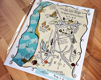 San Luis Obispo City Map Art Print