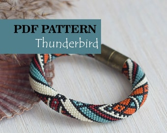 PDF Pattern for bead crochet bracelet - Seed beads crochet rope - Ethnic indian style - Tribal pattern - Native americans inspired