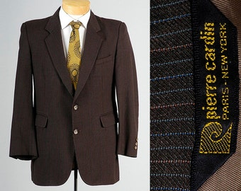 40S Pierre Cardim Blazer Jacket Mens Jacket 70s Blazer Brown Pinstripe Jacket Designer Jacket Brown Sportcoat Short Jacket Vintage Blazer