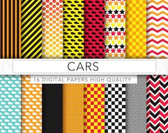 Cars digital paper,cars clipart,walt disney,pixaar,cars pattern,background,texture,commercial use, CA001