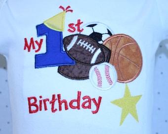 1st birthday, first birthday,All Star birthday, babys first birthday, 1st birthday boy, Baseball,Soccer,basketball , personalized, birthday,
