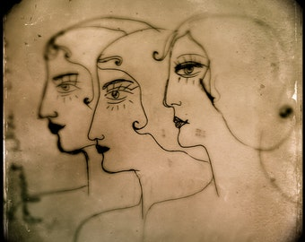 Three Sisters- sisters, sketch, archival print, sepia