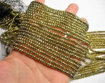 Hematite Gold - 3x4mm faceted rondelle beads - full strand - 127 beads - Light gold - AA quality - PHG258