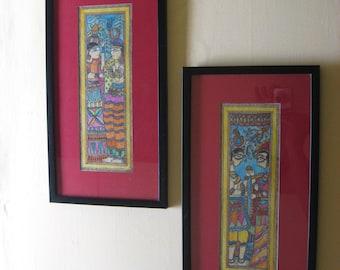 Radha Krishna and Shiva Parvati  Madhubani Paintings