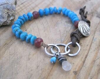 Turquoise, Ruby, Moonstone, Leather Beaded Bracelet, Boho Stacking Bracelet, Layering Bracelet, Knotted Gemstone Bracelet