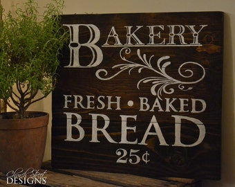 French Country Kitchen Decor - Vintage Bakery Sign - Fresh Baked Bread