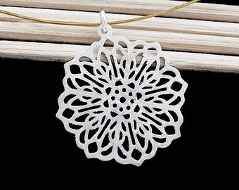 1 of 925 Sterling Silver Filigree Flower Pendant 21.5 mm. Brush Finished  :th2434