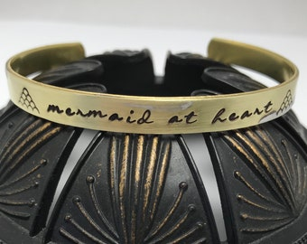 MERMAID AT HEART copper or brass hand stamped metal cuff bracelet ~ affirmation ~ mantra ~ inspirational ~ jewelry gift idea